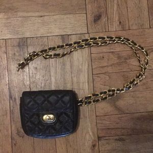 Handbags - Faux Leather Waist Bag with Gold Tone Belt